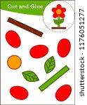 cut and paste worksheet  flower | Shutterstock .eps vector #1176051277