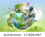 ecology concept with green city ... | Shutterstock .eps vector #1176062467