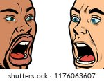 man scream face. african and... | Shutterstock .eps vector #1176063607