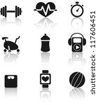 Set Of Nine Black Fitness Icon...