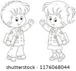 schoolgirl and schoolboy... | Shutterstock .eps vector #1176068044