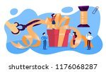 people with a big gift box.... | Shutterstock .eps vector #1176068287