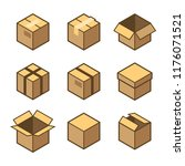 carton packaging box icons set... | Shutterstock .eps vector #1176071521