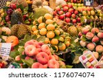 different kind of fruits in... | Shutterstock . vector #1176074074