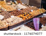 different kind of nuts and dry... | Shutterstock . vector #1176074077