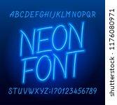 neon tube alphabet font. neon... | Shutterstock .eps vector #1176080971