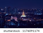 scenic of cityscape with golden ... | Shutterstock . vector #1176091174