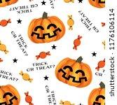 halloween seamless pattern with ... | Shutterstock .eps vector #1176106114