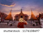 tourist is enjoy traveling and... | Shutterstock . vector #1176108697