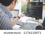 writing codes and typing data... | Shutterstock . vector #1176110071