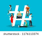 hashtag concept illustration of ... | Shutterstock .eps vector #1176113374