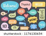 hand drawn speech bubbles with... | Shutterstock .eps vector #1176130654