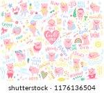 big vector set with pink pigs.... | Shutterstock .eps vector #1176136504