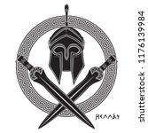 ancient hellenic helmet  two... | Shutterstock .eps vector #1176139984