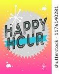 happy hour poster typographic... | Shutterstock .eps vector #1176140281