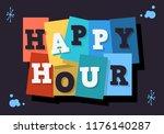 happy hour typographic type... | Shutterstock .eps vector #1176140287