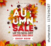 autumn sale design with falling ... | Shutterstock .eps vector #1176146287