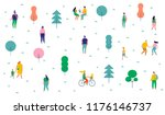 different people in park. ... | Shutterstock .eps vector #1176146737