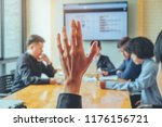 business women raised hand... | Shutterstock . vector #1176156721
