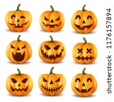 set of halloween pumpkins ... | Shutterstock . vector #1176157894