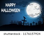 halloween  with a grave... | Shutterstock . vector #1176157924