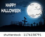 halloween  with a grave... | Shutterstock .eps vector #1176158791