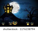 halloween pumpkin and spooky... | Shutterstock .eps vector #1176158794