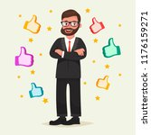happy man in glasses with beard ... | Shutterstock .eps vector #1176159271