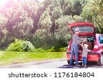 travel mom and children collect ... | Shutterstock . vector #1176184804