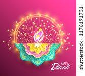 happy diwali. paper graphic of... | Shutterstock .eps vector #1176191731