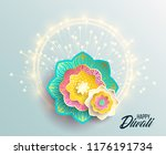 happy diwali. paper graphic of... | Shutterstock .eps vector #1176191734