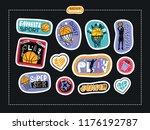 set sketch stickers  fashion... | Shutterstock .eps vector #1176192787
