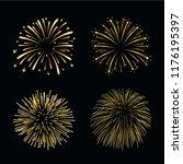 beautiful gold fireworks set.... | Shutterstock .eps vector #1176195397