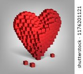 red heart from cubes  valentine'... | Shutterstock .eps vector #1176201121