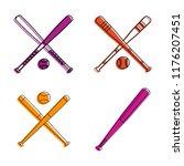 baseball icon set. color...