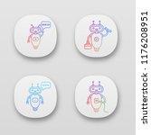 chatbots app icons set. ui ux...