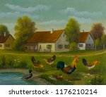 Oil Painting   Chickens And...