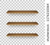 wooden shelf on transparent... | Shutterstock .eps vector #1176210364