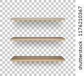 wooden shelf on transparent... | Shutterstock .eps vector #1176210367