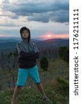 boy at the evening in altai...   Shutterstock . vector #1176211111