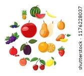fruit icons set in cartoon... | Shutterstock . vector #1176228037