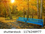 Autumn Park Bench  Rainy...