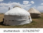 Small photo of Two old traditional yurts at the Son Kul lake in Kyrgyzstan