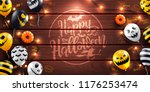 happy halloween background with ... | Shutterstock .eps vector #1176253474
