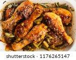 baked chicken legs with peas ... | Shutterstock . vector #1176265147