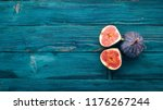 fig. fresh fruit figs on a blue ...   Shutterstock . vector #1176267244
