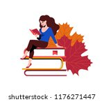 woman reading and sitting near... | Shutterstock .eps vector #1176271447