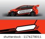 orange theme racing car wrap...   Shutterstock .eps vector #1176278011