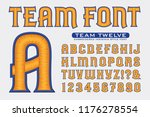 an embroidery style alphabet in ... | Shutterstock .eps vector #1176278554