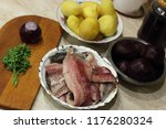 Stock photo ingredients and the process of salad cooking herring under a fur coat russian national cuisine 1176280324